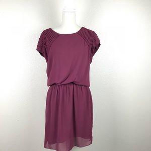 Max Studio Pleated Shoulder Drop Waist Dress